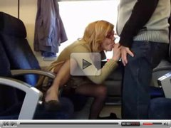 mature amateur couple fuck in the train