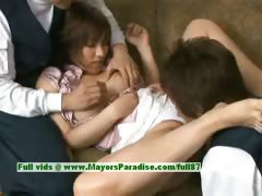 Nao Ayukawa innocent cute asian girl enjoys her friends fondling her cute pussy