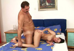 Slim brunette whore gets herc pussy fucked by an old man