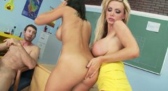 Nikki Benz and Rachel Starr facesitting and giving a hot titjob in a threesome fuck
