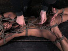 Boxtied frogtied ebony sub tied up harsh