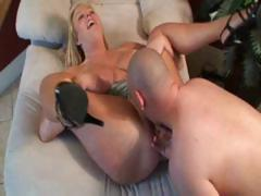 Hot blonde MILF with a pair of huge tits gets fucked by a young guy